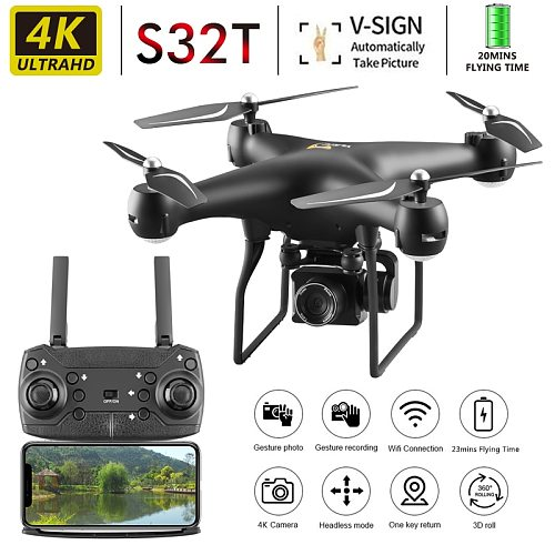 New S32T Drone WiFi FPV RC Drone 4K/1080P Wide Angle Adjustable ESC HD Camera Altitude Hold RC Quadcopter Drone Toys