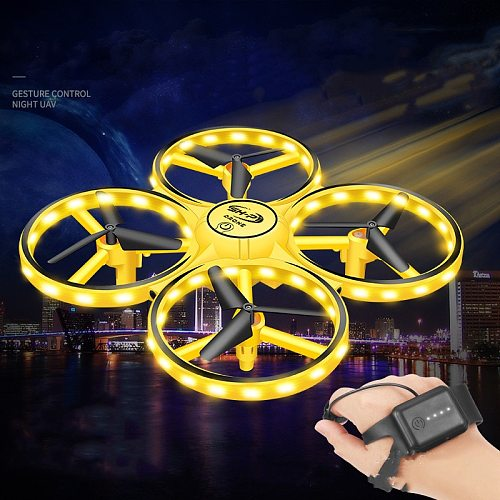 RC Mini Quadcopter Induction Drone Smart Watch Remote Sensing Gesture Aircraft UFO Hand Control Drone Altitude Hold Kids