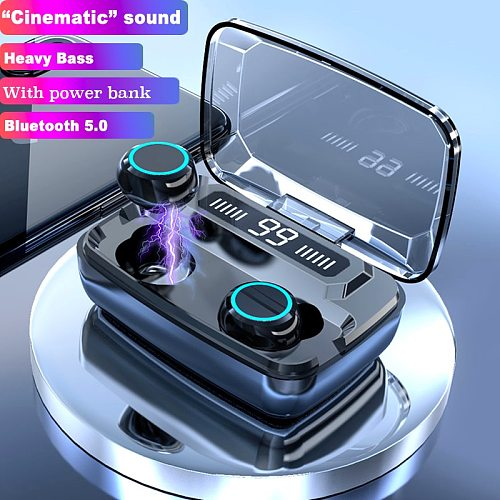 3500mAh Wireless Earphones Bluetooth V5.0 TWS Wireless Bluetooth Headphones LED Display With Power Bank Headsets With Microphone