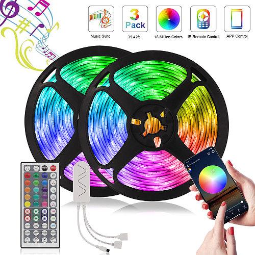 LED Strip RGB 5050 2835 Festoon Voice Control Led lights DV 12V Diode Tape Bluetooth Control Neon light 5M-20M Flexible Ribbon