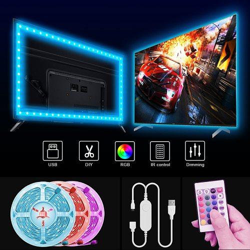 USB LED Strip Light 1M-20M 5050 SMD USB RGB Lights Flexible LED Lamp Tape Ribbon RGB TV Desktop Screen BackLight Diode Tape