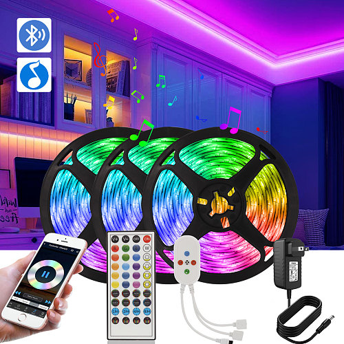 Music Sync RGB Color Changing Smart LED Strip 12V 5050 SMD 2835 Neon Tape Diode Bluetooth Control Led lights for room decoration