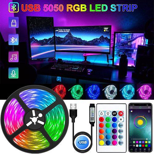 LED Strip Light USB Bluetooth RGB 5050 5V RGB Lights Flexible LED Lamp Tape Ribbon RGB TV Desktop Screen BackLight Diode Tape