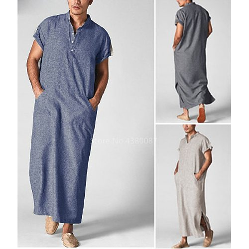 2021 Muslim Traditional Islamic Clothing Jubba Thobe Men Male Dubai Arab Casual Streetwear Short Sleeve Long Thobe Shirt Dress