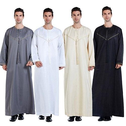 4Colors Men Spring Muslim Fashion Abaya Dubai Turkey Indian Islamic Clothing Male Solid Color Round Neck Eid Ramadan Dress