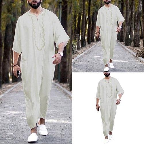 2021 New Men's Clothing Muslim Dubai Abaya Dress Man Half Sleeve V-Neck Loose Embroidery Islamic Arabic Pakistan Robe Qamis Man