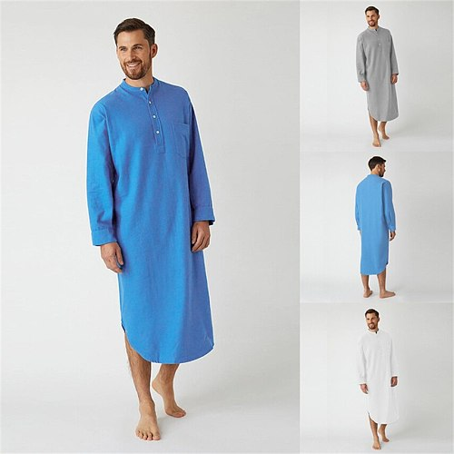 Mens Muslim Fashion Arab Clothing Long Robes Solid Long Sleeve Islamic Pray Casual Middle East Arabic Jubba Thobe