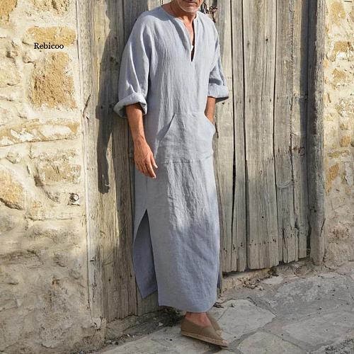 Men Robes Kaftan Muslim Arab Islamic V-Neck Short Sleeve Solid Cottonthobe Vintage Loungewear Plus Size Arabia Man
