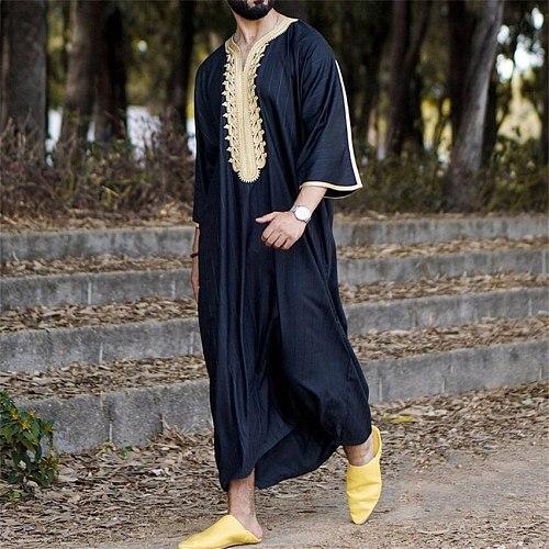 Eid Ramadan Muslim Fashion Men Robe Sets 2021 Summer New V-neck Abaya Dubai Modern Casual Loose Solid Color Islamic Clothing