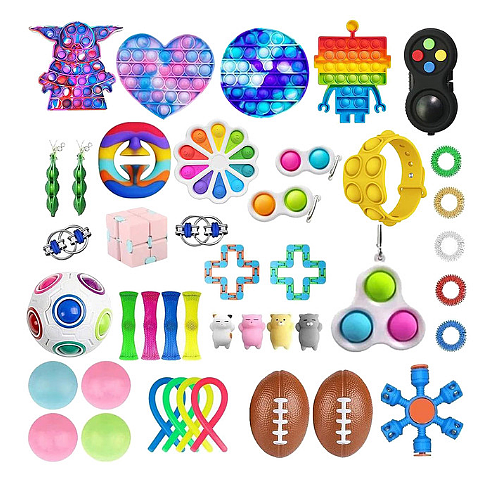 Free Shipping 30-38 pcs Sensory Fidget Toys Set Pop Bubble Soybean Squeeze Stress Relief Balls with Fidget Hand Toys for Kids Adults Calming Toys for ADHD Autism Anxiety Relief