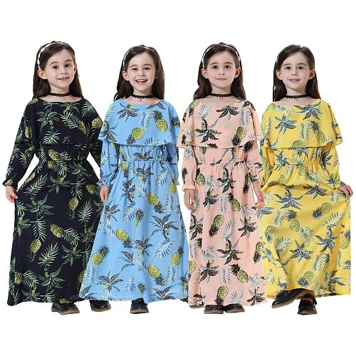 Arab Vestido Arabic Girl Abaya Dubai Kaftan Turkey Long Bodycon Muslim Hijab Dress Children Elbise Turkish Islamic ClothingTH608