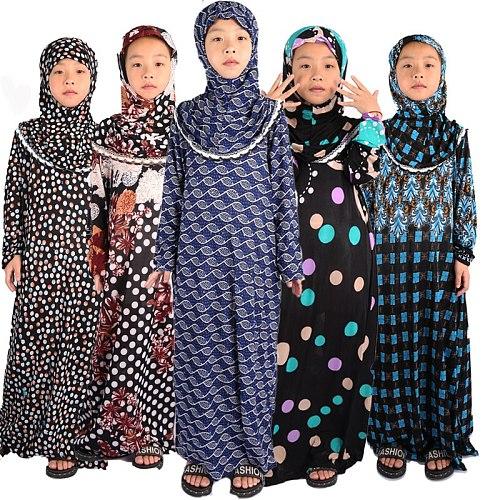 Islamic Clothing Girls Abaya for Children Child Hijab Muslim Prayer Dress for Kids Kaftans Ropa Arabe Mujer Ramadan Robe Dubai
