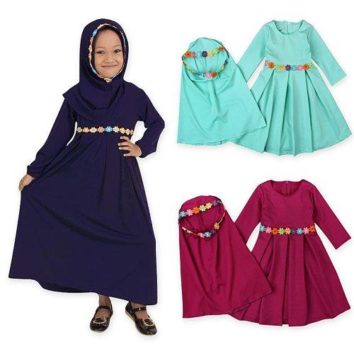 1-6T Kids Dress Hijab Sets Muslim Girls Abaya Headscarf Eid Child Two Pieces Suits Islamic Ramadan Prayer Kaftan Jilbab