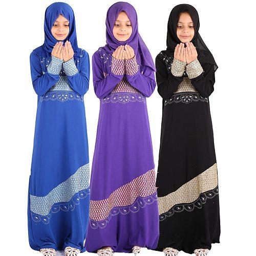 Eid Mubarak Kids Girls Abaya Turkey Hijab 2pcs Muslim Dress Kaftan Dubai Caftan Abayas Ramadan Elbise Islamic Gift Clothing