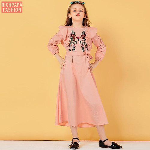Pink Embroidery Girls Kids Abaya Dubai Hijab Muslim Dress Turkey Oman Abayas For Children Islam Kaftan Caftan Islamic Clothing