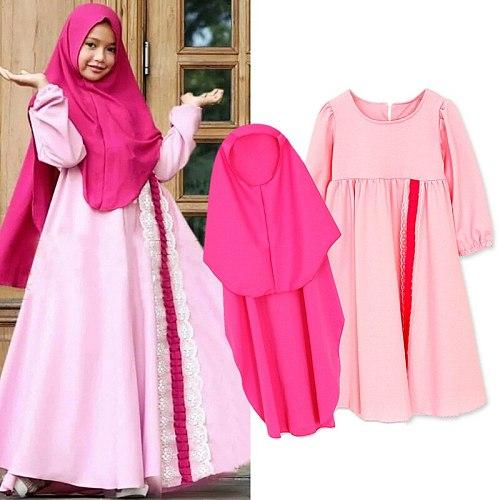 New Children's Clothing Suit Muslim Girl Solid Color Hijab Dress Abaya Islamic Turban Robe Children's Clothing Arab Turban Dress