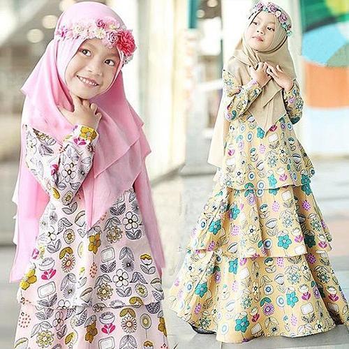 Muslim Girls Cake Dress 2 Piece Sets Islamic Clothes Hijab Abaya Children Niqab Burqa Kids Print Flower Kaftan Jilbab Party Gown