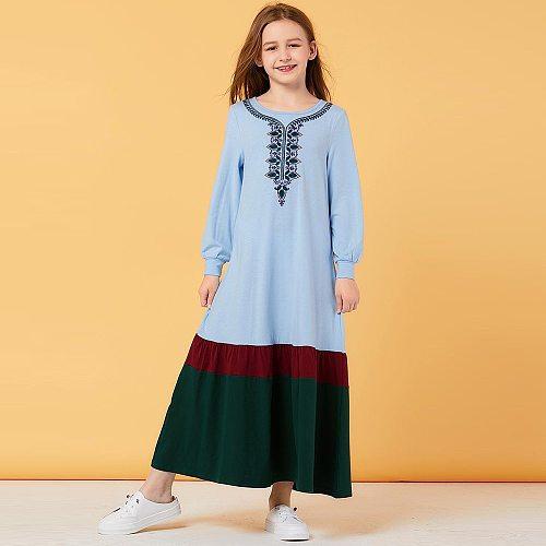Girls Muslim Abaya For Kids Turkey Children Hijab Dress Embroidery Abayas Kaftan Robe Dubai Caftan Qatar Omani Islamic Clothing
