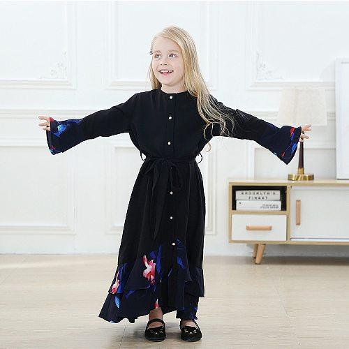 2021 Flared Girls Kaftan Abaya Dubai Turkey Hijab Muslim Dress Islam Clothing Abayas For Kids Robe Musulman Children Dresses