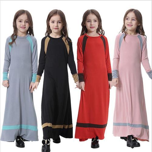 Muslim Girls Milk Silk Child Dress Robe Turkish Kids Abaya Burka Arab Ramadan Prayer Maxi Long Kaftan Islamic Eid Clothes Jilbab