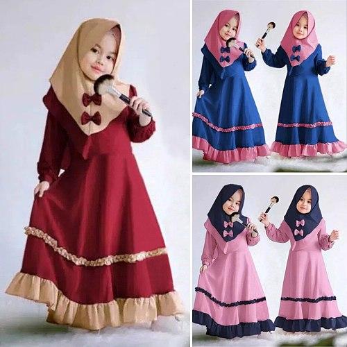 Kid Girl Ramadan Muslim Abaya Dubai Robe Muslim Kids Prayer Dress Traditional Clothing Toddler Baby Child Dress 1 2 3 4 Years