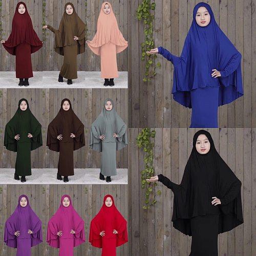 2 Pcs Muslim Kids Hijab Dress Abaya Set Islamic Children Ramadan Prayer Burka Arab Girls Khamar Hijab Headscarf Skirt Niqab Suit