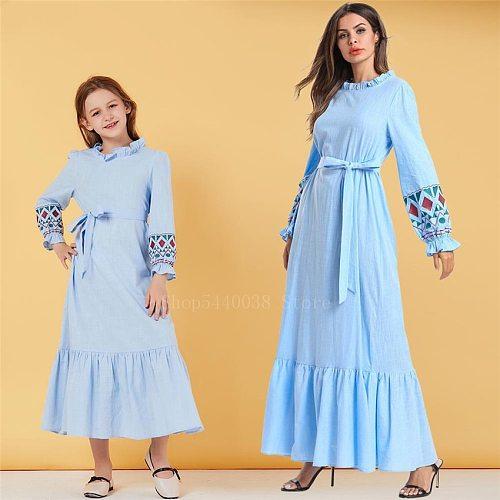 Muslim Traditional Clothing Women Girl Kids Blue Bubble Sleeves Leisure Embroidery Belt Islamic Abaya Dress Elegant Female Thobe