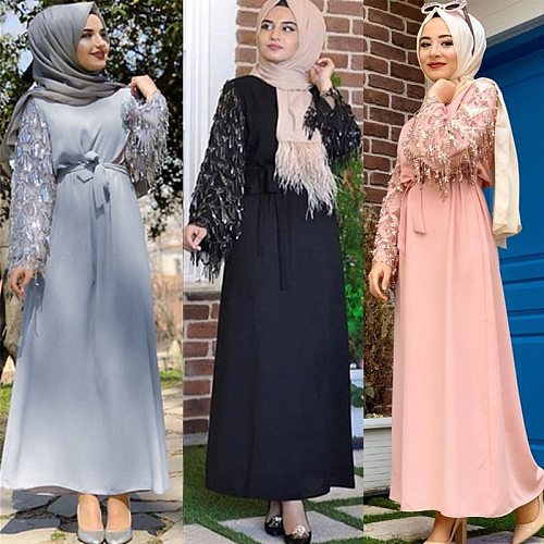 Sequin Tassel Abaya Turkish Dubai Hijab Muslim Dress Islam Clothing Abayas For Women Kaftan Caftan Djelaba Femme Prayer Clothes