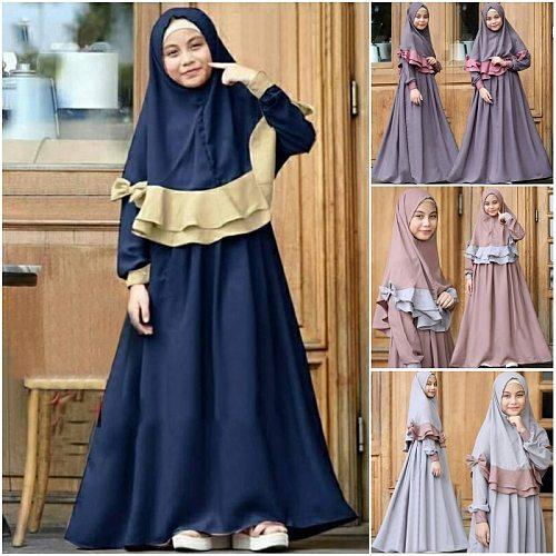 Muslim Kids Ramadan Girls Long Sleeve Dress Hijab Abaya Robe Arab Dubai Children Kaftan Headscarf Islamic Kids Robe Jilbab