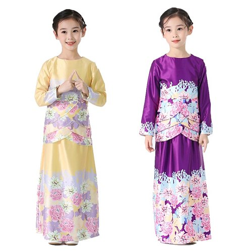 Muslim Girls Abaya Noble Floral Print Dubai Turkey Kids Islamic Dress Children Long Sleeve Prayer Party Gown Kaftan Ramadan