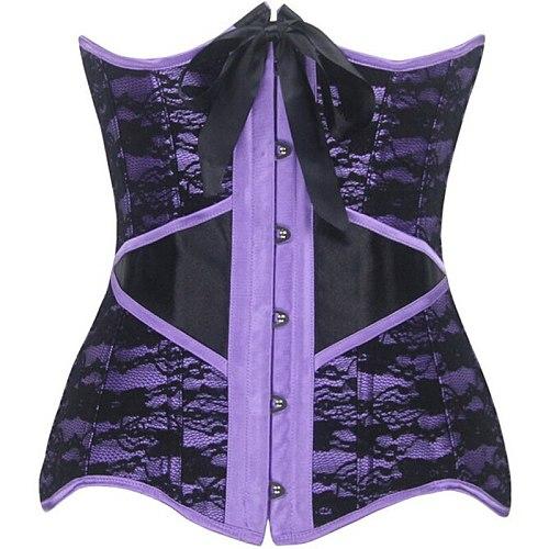 Underbust Push Up Purple Lace Corset Top Cover Hip Bustier Outwear Floral Korset Exquisite Corsets Gothic korsett for Sexy women