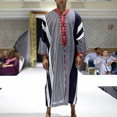 Muslim Islamic Clothing Men Jubba Thobe Dress Abayas Long Robe Saudi Striped Abaya Moroccan Caftan Islam Dubai Arab Dressing