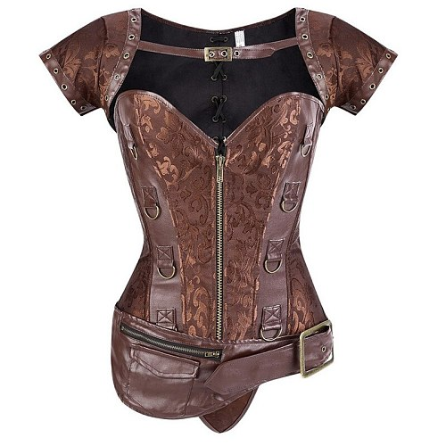 Gothic Steampunk Clothing Women Plus Size Vintage Pu Leather Corset Steampunk Brown Outerwear Bustier Corselet Overbust Tops
