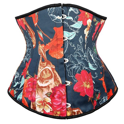 New Skull Head Color Pattern Short Waist Trainer Body Shaper Underbust Corset Women Waist Cincher Slimming Belt Modeling Girdle
