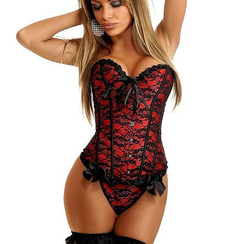 New Fashion Women Sexy Lace Up Overbust Corsets Strapless Steel Boned Bustiers Floral Print Two Pieces S-6XL