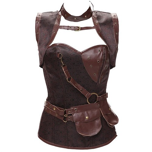 Gothic Steampunk Clothing Women Plus Size Corset Bustier Vintage Pu Leather Corset Steampunk Outerwear Corselet Overbust