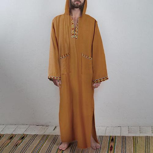 Vintage Pockets Patchwork Dubai Robes INCERUN Men Hooded Caftan Muslim Robes Long Sleeve Print Islamic Arabic Jubba Thobe S-5XL