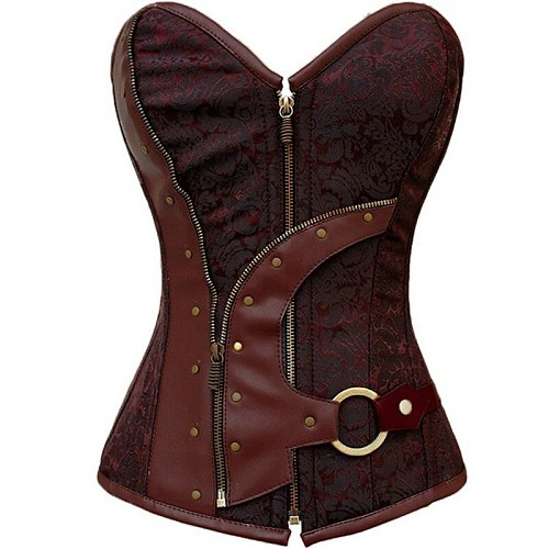 Hot Newly 14 Steel Bone Steampunk Leather Corset with Thong Vintage Steampunk Leather Lace Up Corset For Waist