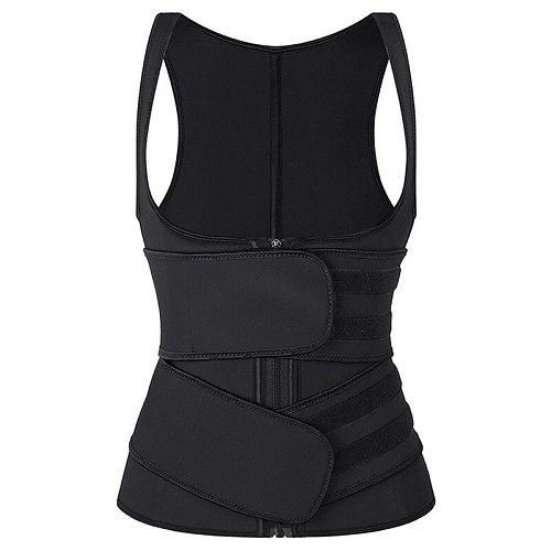 New Elastic Sticker Two Straps Belts 100% Latex Waist Training Cincher 9 Steel Boned Unerbust Corset Vest Back Support