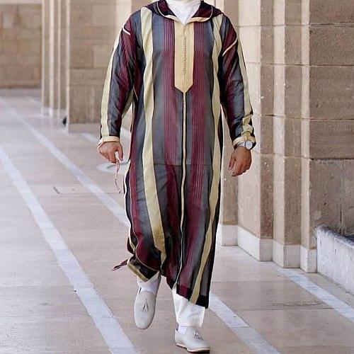New Striped Men Jubba Thobe Dubai Muslim Islamic Clothing Long Robe Saudi Musulman Abaya Caftan Islam Dubai Arab Dressing Mens