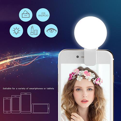 Mini Q Selfie Ring Light Flash LED USB Clip Mobile Phone Fill Luminous Lamp Lens for iPhone for Samsung Xiaomi Phone Selfie Lamp