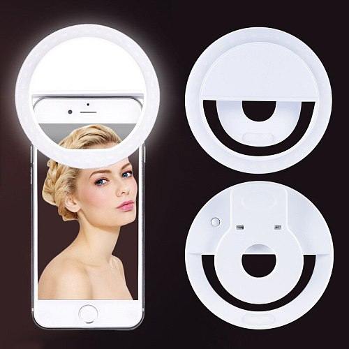 LED Selfie Flash Light Camera Clip-on Mobile Phone Ring Light Video Light Enhancing Lamp For Android IOS Smart Mobile Phone