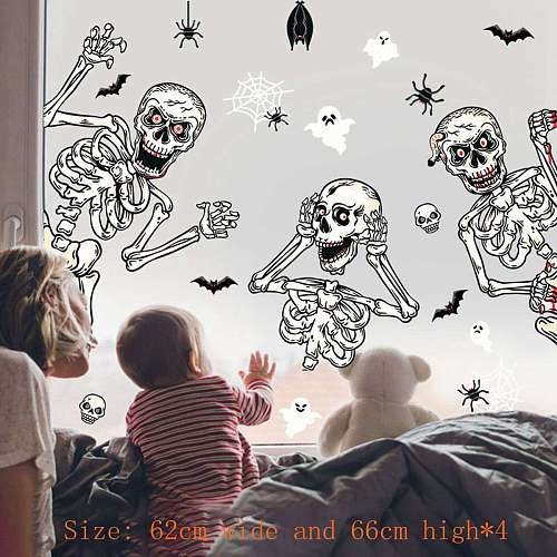 Big Removable Happy Halloween Stickers Skeleton Halloween Decorations for Home Bathroom Toilet Horror Windows Wall Stickers
