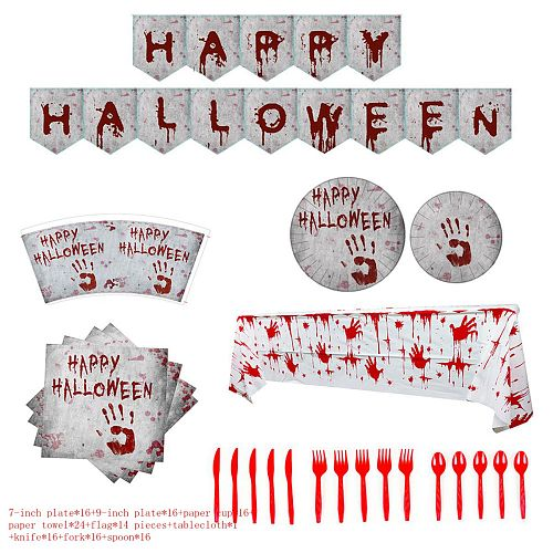 Happy Halloween Disposable Tableware Set Accessories Halloween Decorations for Home Horror Party Supplies Plates Cups Tablecloth