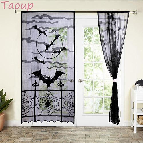 Taoup Scary Black Lace Bat Curtain Decor Halloween Accessories Props Halloween 2018 Party Supplies Horror Ghost Festival Party