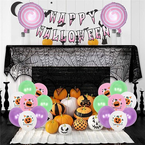 Halloween Ornaments Pumpkin Spider Ghost Foil  Latex Balloon Set Halloween Decoration for Home Happy Halloween Party Supplies