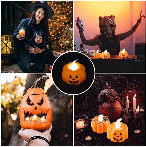 24 Pack Halloween Pumpkin Tealights, LED Pumpkin Lights 3D Pumpkin Flameless Candle for Halloween Decorations, Thanksgiving Dec