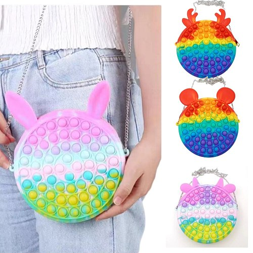 Large-Size Cute Bag Fidget Toys Reliver Stress Toy Rainbow Macaron Bag Push Bubble Toys Squishy Stress Reliever Toys Christmas