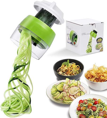Handheld Spiralizer Vegetable Fruit Slicer 4 In 1 Adjustable Spiral Grater Cutter Salad Tools Zucchini Noodle Spaghetti Maker