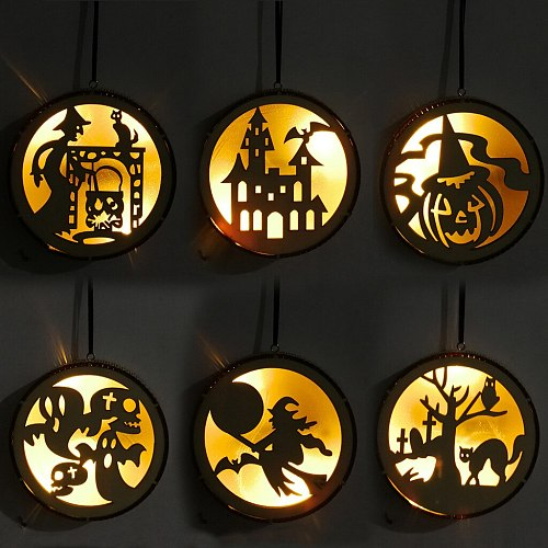 Wooden Round Computer Laser Hollowed Out Witch Elf Pumpkin Man Haunted House Black Cat Led Light Pendant Halloween Props Party